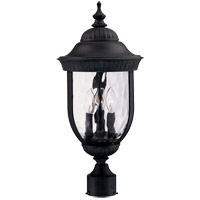 Castlemain 3 Light 22 inch Black with Gold Outdoor Post Lantern in Como Black