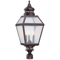 Chiminea 3 Light 29 inch English Bronze Post Lantern in Pale Cream Seeded