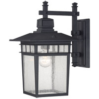 Linden 1 Light 15 inch Black Outdoor Wall Lantern in Textured Black