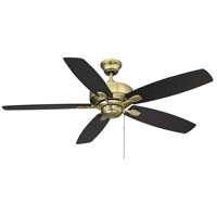 Savoy House 52-830-5RV-148 Windstar 52 inch Estate Brass with Walnut/Matte Black Blades Ceiling Fan