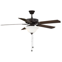 First Value 52 inch English Bronze with Walnut/Teak Blades Ceiling Fan in White Marble