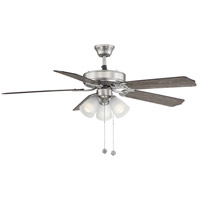 First Value 52 inch Satin Nickel with Rosewood/Maple Blades Ceiling Fan in Satin White Frosted