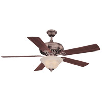 Peachtree 52 inch Brushed Pewter with Walnut Blades Ceiling Fan in White Marble