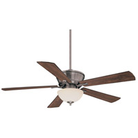 St. Simons 52 inch Brushed Pewter with Walnut/Teak Blades Ceiling Fan in White Scavo
