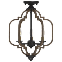 Savoy House 6-0303-3-96 Westwood 3 Light 14 inch Barrelwood with Brass Accents Semi-Flush Mount Ceiling Light