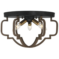 Savoy House 6-0304-3-96 Westwood 3 Light 15 inch Barrelwood with Brass Accents Semi-Flush Mount Ceiling Light
