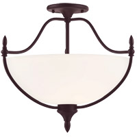 Herndon 3 Light 18 inch English Bronze Semi-Flush Ceiling Light