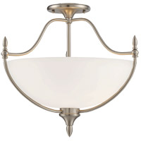 Herndon 3 Light 18 inch Satin Nickel Semi-Flush Ceiling Light
