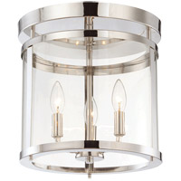 Penrose 3 Light 13 inch Polished Nickel Semi-Flush Ceiling Light