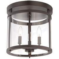 Penrose 3 Light 13 inch English Bronze Semi-Flush Ceiling Light
