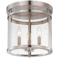 Penrose 3 Light 13 inch Satin Nickel Semi-Flush Mount Ceiling Light
