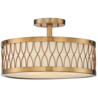 Spinnaker 3 Light 15 inch Warm Brass Semi-Flush Mount Ceiling Light