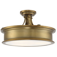 Savoy House 6-134-3-322 Watkins 3 Light 16 inch Warm Brass Semi-Flush Mount Ceiling Light