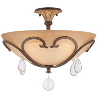 Florence 3 Light 20 inch New Tortoise Shell Semi-Flush Ceiling Light in Cream Scavo