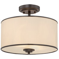 Grove 2 Light 14 inch English Bronze Semi-Flush Ceiling Light