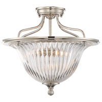 Aberdeen 3 Light 16 inch Polished Nickel Semi-Flush Mount Ceiling Light, Convertible
