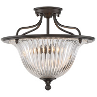 Aberdeen 3 Light 16 inch Classic Bronze Semi-Flush Ceiling Light, Convertible