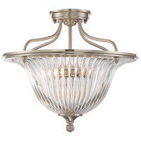 Aberdeen 3 Light 16 inch Satin Nickel Semi-Flush Mount Ceiling Light, Convertible