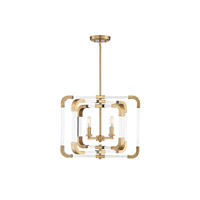 Rotterdam 4 Light 20 inch Warm Brass Semi-Flush Mount Ceiling Light, Convertible