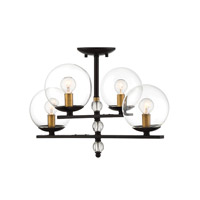 Savoy House 6-18004-4-79 Granville 4 Light 20 inch English Bronze and Warm Brass Semi-Flush Mount Ceiling Light