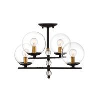 Savoy House 6-18004-4-79 Granville 4 Light 20 inch English Bronze and Warm Brass Semi-Flush Mount Ceiling Light