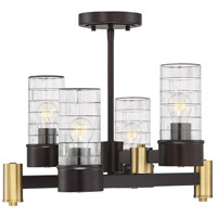 Savoy House 6-1953-4-79 Bunker 4 Light 16 inch English Bronze and Warm Brass Semi-Flush Mount Ceiling Light