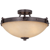 Elba 3 Light 17 inch Oiled Copper Semi-Flush Mount Ceiling Light