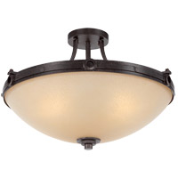 Elba 4 Light 21 inch Oiled Copper Semi-Flush Ceiling Light in Cream Textured