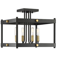 Savoy House 6-2232-4-51 Fowler 4 Light 14 inch Vintage Black With Warm Brass Semi-Flush Ceiling Light