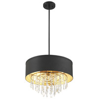 Savoy House 6-2292-4-126 Sparkler 4 Light 18 inch Black with Gold Leaf Semi-Flush Ceiling Light, Convertible alternative photo thumbnail