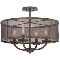 Nouvel 4 Light 20 inch Galaxy Bronze Semi-Flush Mount Ceiling Light, Convertible