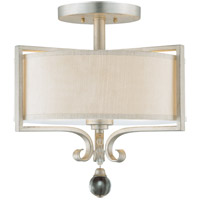 Rosendal 2 Light 16 inch Silver Sparkle Semi-Flush Ceiling Light
