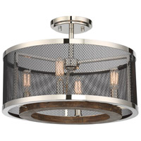 Valcour 4 Light 16 inch Polished Nickel with Graphite and Wood Accents Semi-Flush Mount Ceiling Light