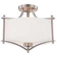 Colton 2 Light 15 inch Satin Nickel Semi-Flush Mount Ceiling Light