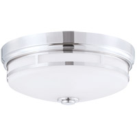 Signature 3 Light 15 inch Polished Nickel Flush Mount Ceiling Light in White
