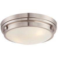Lucerne 3 Light 15 inch Satin Nickel Flush Mount Ceiling Light