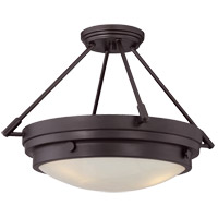 Lucerne 3 Light 19 inch English Bronze Semi-Flush Ceiling Light