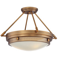 Lucerne 3 Light 19 inch Warm Brass Semi-Flush Ceiling Light