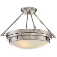 Lucerne 3 Light 19 inch Satin Nickel Semi-Flush Mount Ceiling Light