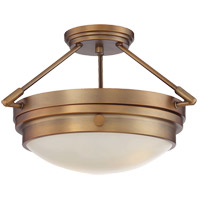 Lucerne 2 Light 17 inch Warm Brass Semi-Flush Ceiling Light