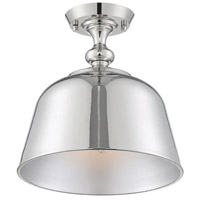 Savoy House 6-3750-1-109 Berg 1 Light 12 inch Polished Nickel Semi-Flush Ceiling Light