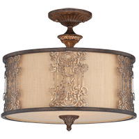 Windsor 3 Light 18 inch Fiesta Bronze with Gold Highlights Semi Flush Mount Ceiling Light