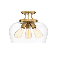 Octave 3 Light 13 inch Warm Brass Semi-Flush Mount Ceiling Light