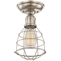 Scout 1 Light 6 inch Satin Nickel Semi-Flush Ceiling Light