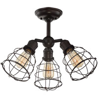 Scout 3 Light 23 inch English Bronze Semi-Flush Mount Ceiling Light, Adjustable