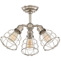 Scout 3 Light 23 inch Satin Nickel Semi-Flush Ceiling Light