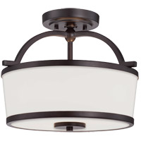 Hagen 2 Light 13 inch English Bronze Semi-Flush Ceiling Light