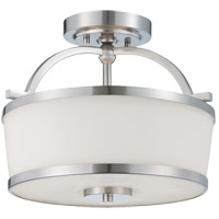 Hagen 2 Light 13 inch Satin Nickel Semi-Flush Ceiling Light