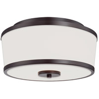 Hagen 2 Light 13 inch English Bronze Flush Mount Ceiling Light in White Etched