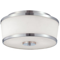 Hagen 2 Light 13 inch Satin Nickel Flush Mount Ceiling Light in White Etched